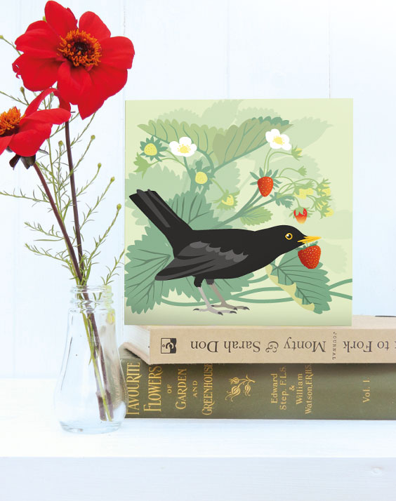 The Strawberry Thief Card - blackbird, birthday, summer