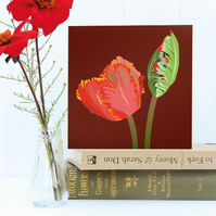Red Parrot Tulip Card - Spring, Birthday, Floral