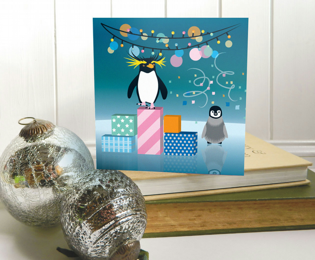 Rockhopper Penguin Christmas Card