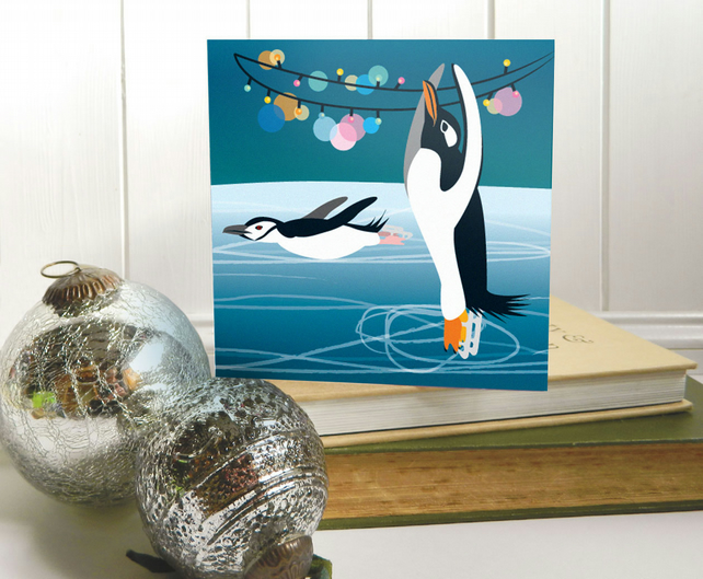 Skating Penguins Christmas Card