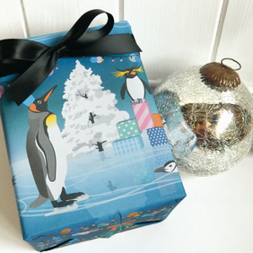 Penguin Party Christmas Gift Wrapping Paper Set
