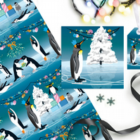 Penguin Party Christmas Gift Wrapping Paper Set  - Eco Friendly, Compostable