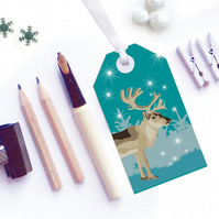 Winter Woodland Reindeer Christmas Gift Tags - Eco Friendly, Compostable