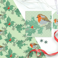 Robin Christmas Gift Wrapping Paper Set - Eco Friendly, Compostable