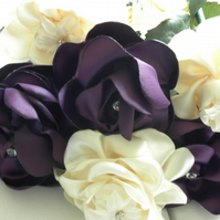 Various coloured fabric flower bouquets