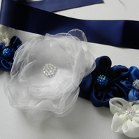 Fabric flower belt or sash