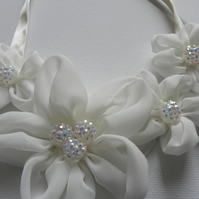 White fabric flower necklace
