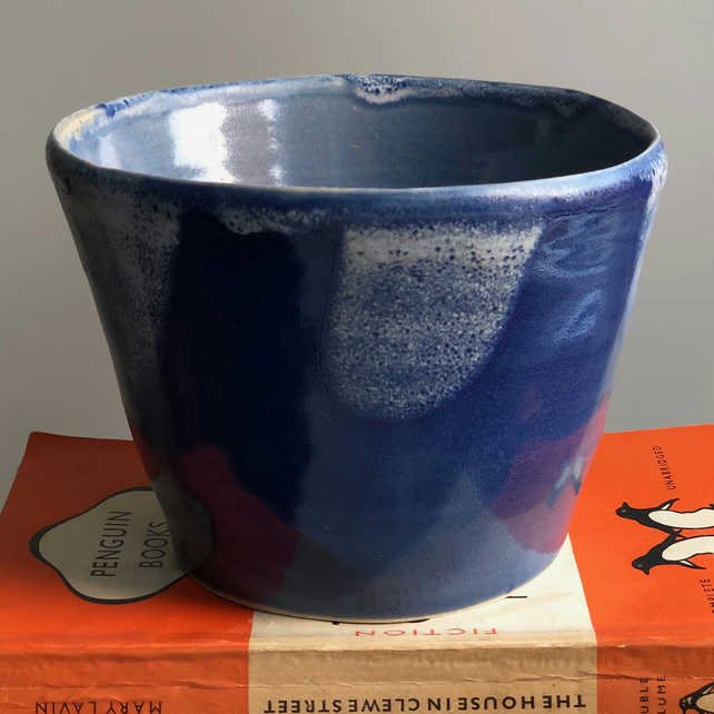 Handthrown stoneware plant pot, glazed in blues and white