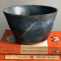 Handthrown stoneware pot, glazed in blues and white