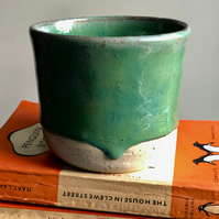 Handthrown stoneware pot, with turquoise glaze