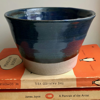 Handthrown stoneware plant pot, with blue glaze