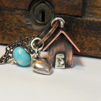 Handmade Copper Beach Hut Long Pendant Necklace