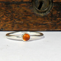 Stacking Silver Amber Ring