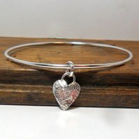 Sterling Silver Bangle with Heart Dangle