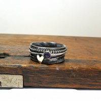 Iolite & Heart Silver Spinner Ring