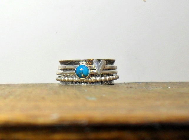 Turquoise & Heart Silver 3 Spinner Ring