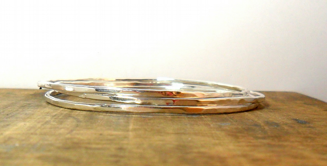 Silver Hammered Stacking Bangles