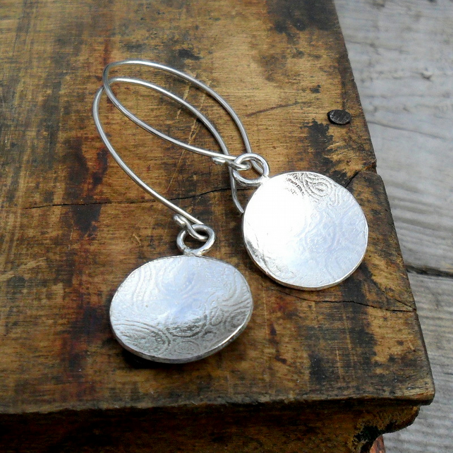Silver Paisley Print Earrings