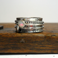 Opal & Heart Spinner Ring