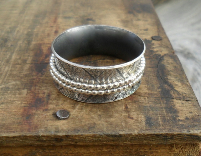 Silver Leaf Spinner Ring