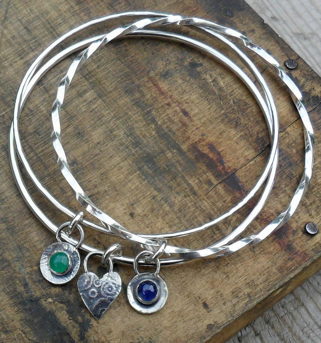 Sapphire and Emerald Bangles