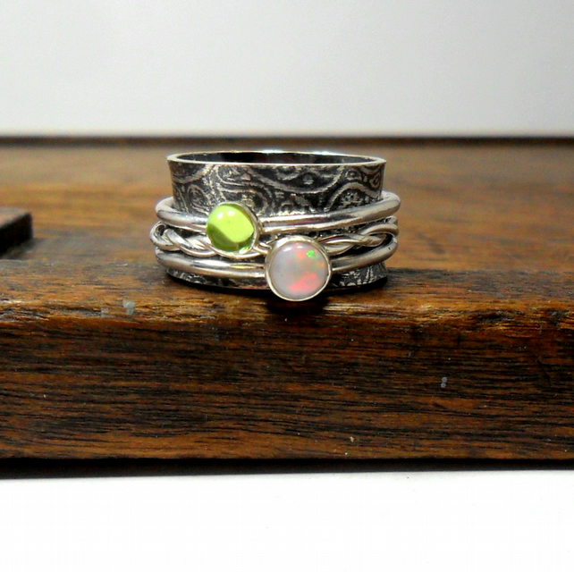 Opal & Peridot Silver Spinner Ring