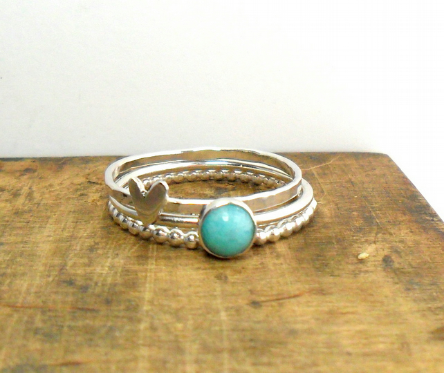 Three Sterling silver Ring Set with Amazonite
