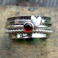 Sterling Silver Garnet Spinner ring