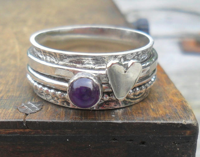 Amethyst & Heart 3 Spinner Ring