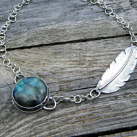 Labradorite & Feather Necklace