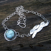 Labradorite & Running Hare Necklace