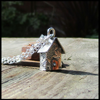Original Sterling Silver Flower  Hut Pendant