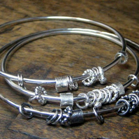 Kinetic Sterling Silver Charm Bangle