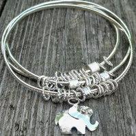 Kinetic Sterling Silver Elephant Charm Bangle