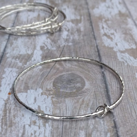 Sterling Silver Textured Bangles - Free UK Shipping
