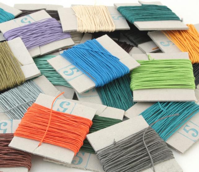 25m Lin Cable No. 332, French Waxed Linen Thread, Your choice of up to 5 colours