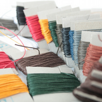 10m of Gruschwitz's 3-ply Linen Thread, Up to Two Colours of your Choice