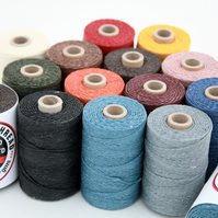 50g Spool of Irish 4-ply Waxed Linen Thread, Your Choice of Colour