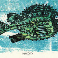 Woodfish, Limited Edition, Original Print, Reduction Woodcut, Colour print, Fish