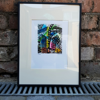 Nottingham Inspired, City, English Architecture, Monoprint, Linocut, Variations