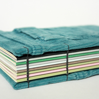 Recycled Notebook, upcycled teal corduroy jeans covers, vademecum size