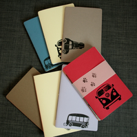 3 x Travel Notebook, Set of Three Jotter Journals, Car themed