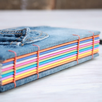 Notebook from Recycled Denim Jeans with Snapbutton Pocket