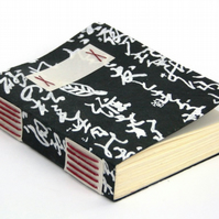 Medieval Style Journal, Black & White Calligraphy, Red Thread Sketchbook