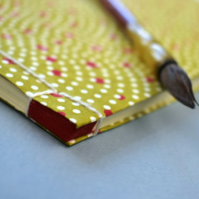 Japanese Sketchbook, Chiyogami, Traditional Craft Binding, Silk Thread