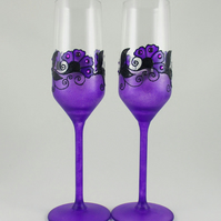 Purple wedding glasses, Purple and black glasses, Violet wedding glasses