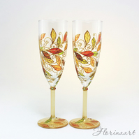 Autumn Leaves Glasses, Fall Wedding Glasses, Autumn Wedding Glasses. Wine Glasse