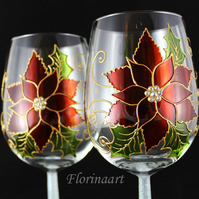 Poinsettia Painted Wine Glass , Red poinsettia wine glasses, Christmas Wine Glas