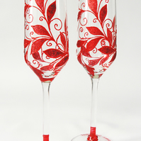 40th Wedding Anniversary gift, Ruby Red Glasses, Wedding Glasses, Wedding Anniv