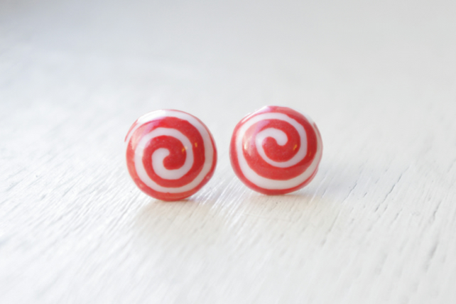 Peppermint candy porcelain earring,ceramic earring,Ceramic jewellery